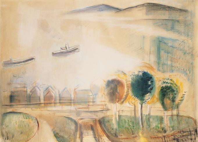 Egry Jozsef_-_Balatoni taj fakkal_-_Balaton Scene with Trees_-_1926-28